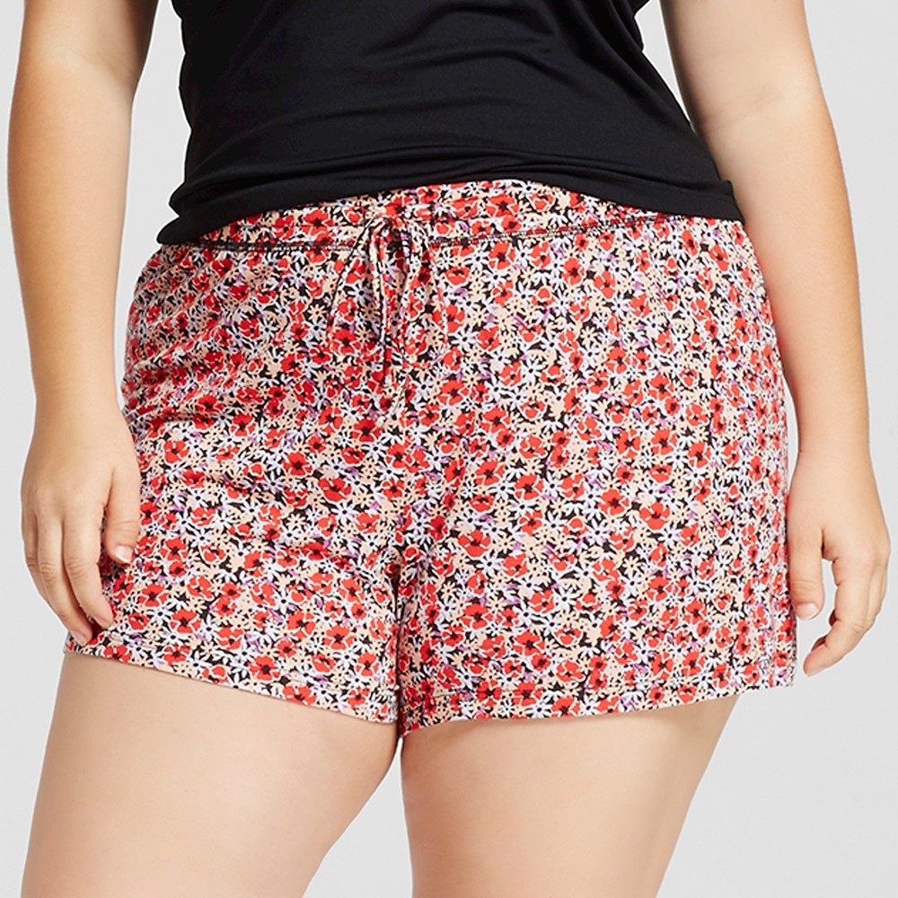 Womens Plus Size Fluid Knit Shorts - Red Floral 1X