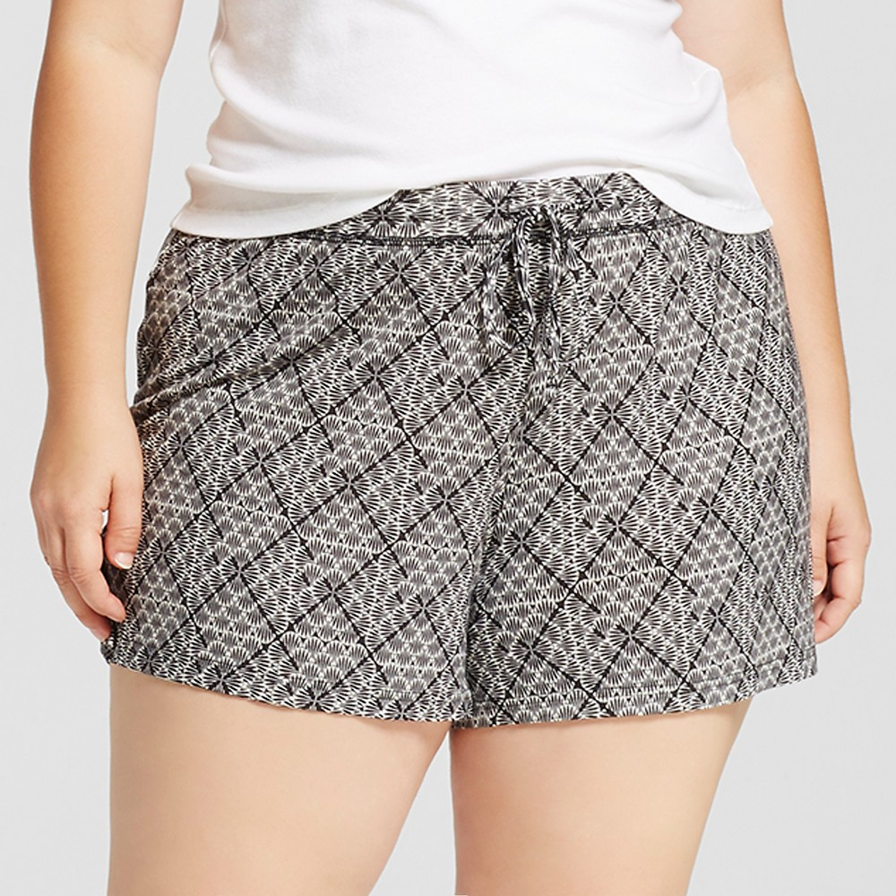 Womens Plus Size Fluid Knit Shorts - Black Tile 1X