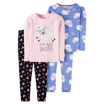 Just One You™ Made by Carter's® Baby Girls' 4pc Snug Fit Cotton Pajama Set Sheep - 9M