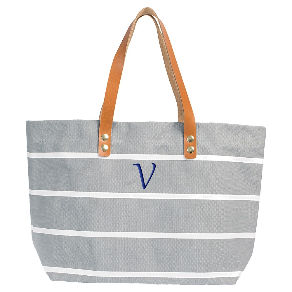 Womens Monogram Gray Striped Tote with Leather Handles - V, Size: Large, Gray - V