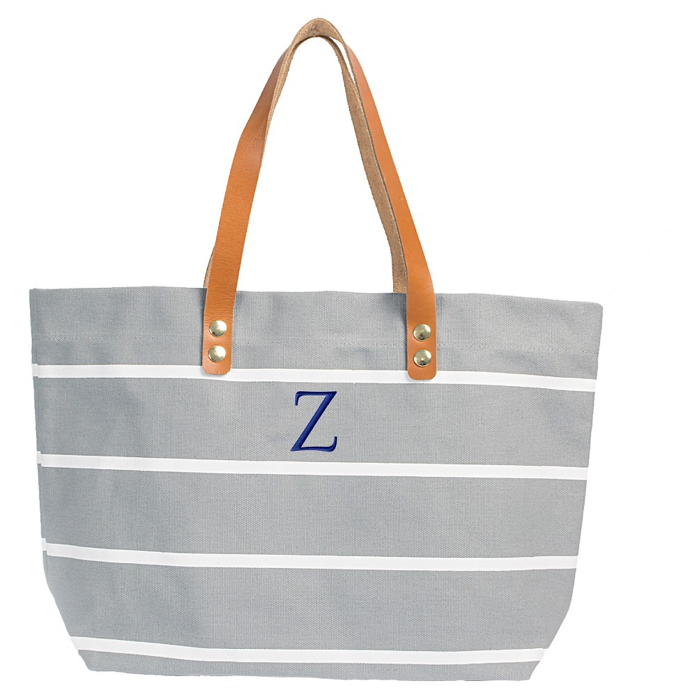 Womens Monogram Gray Striped Tote with Leather Handles - Z, Size: Large, Gray - Z
