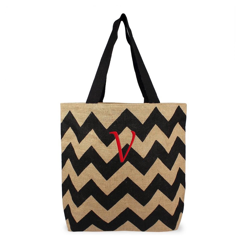 Womens Monogram Black Chevron Natural Jute Tote Bags - V, Size: Large, Black - V