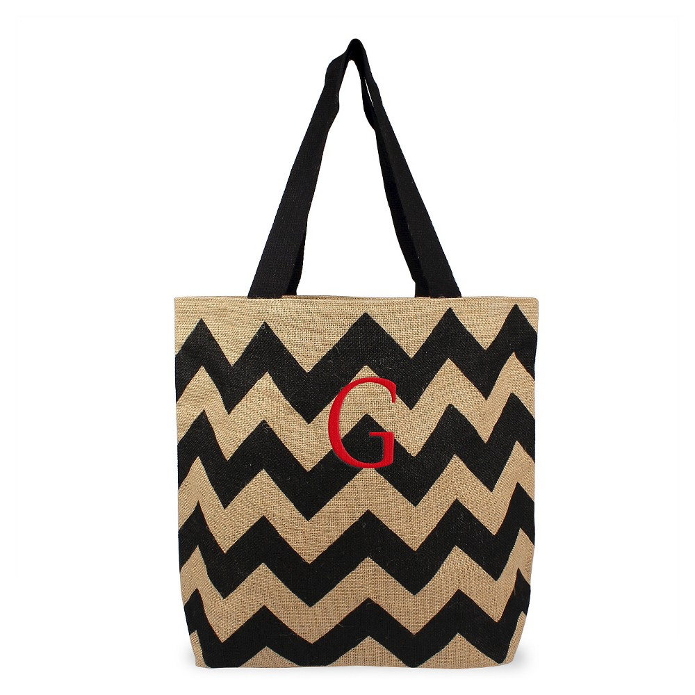Womens Monogram Black Chevron Natural Jute Tote Bags - G, Size: Large, Black - G