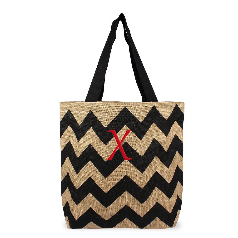 Womens Monogram Black Chevron Natural Jute Tote Bags - X, Size: Large, Black - X