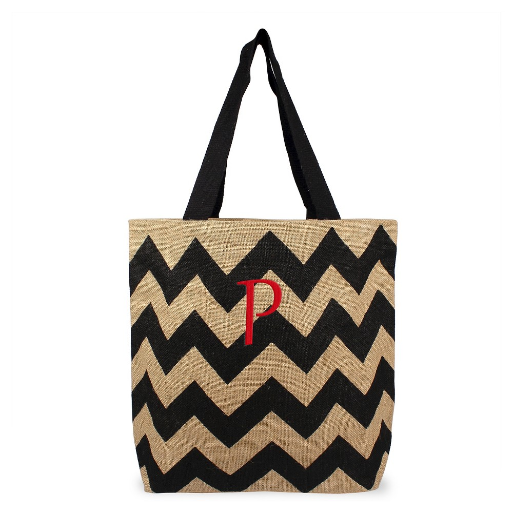 Womens Monogram Black Chevron Natural Jute Tote Bags - P, Size: Large, Black - P