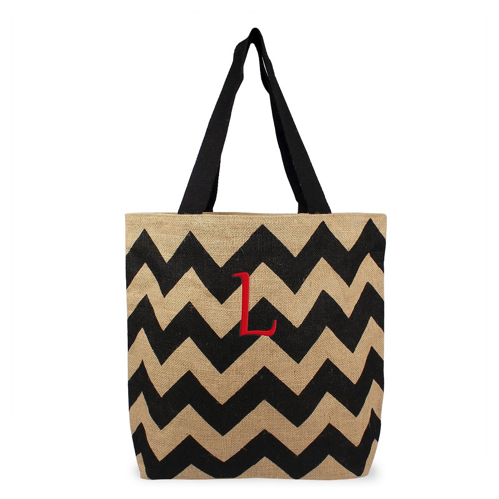 Womens Monogram Black Chevron Natural Jute Tote Bags - L, Size: Large, Black - L