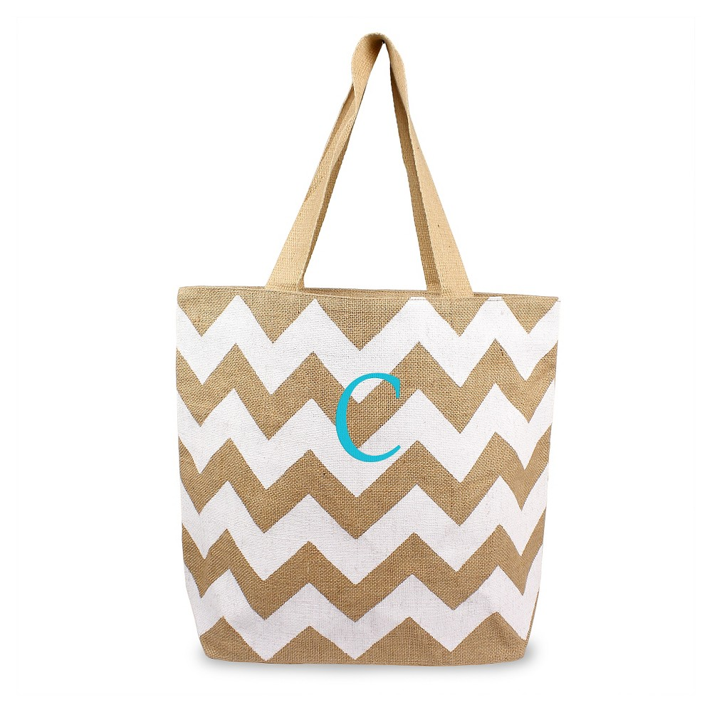 Womens Monogram White Chevron Natural Jute Tote Bags - C, Size: Large, White - C