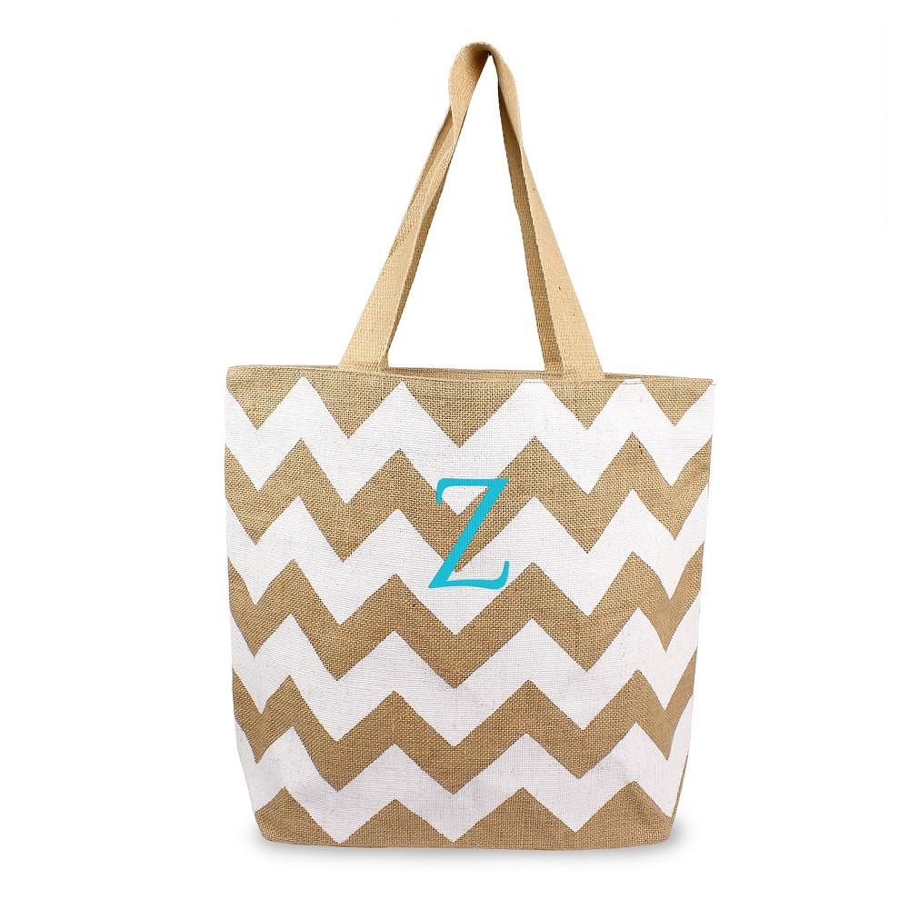 Womens Monogram White Chevron Natural Jute Tote Bag - Z, Size: Large, White - Z