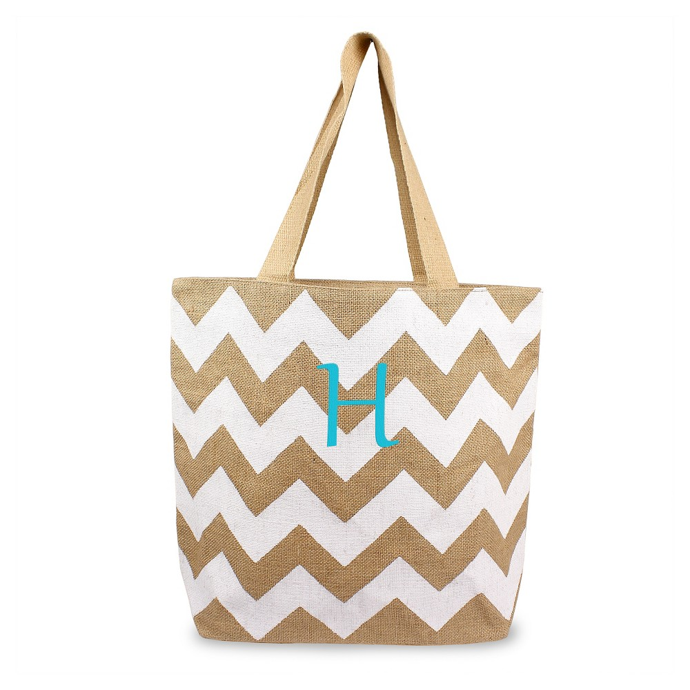Womens Monogram White Chevron Natural Jute Tote Bags - H, Size: Large, White - H