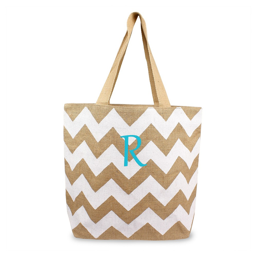 Womens Monogram White Chevron Natural Jute Tote Bags - R, Size: Large, White - R