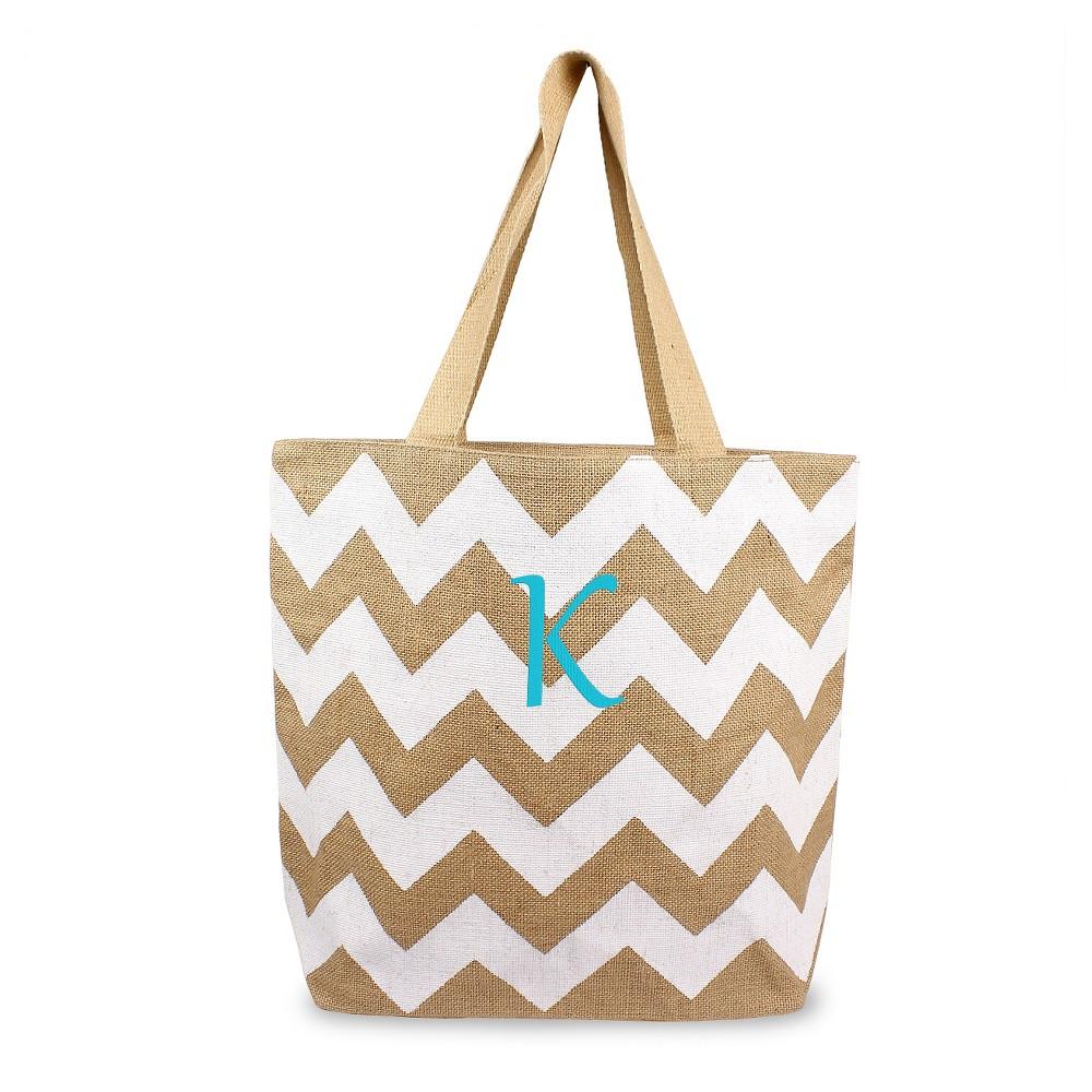 Womens Monogram White Chevron Natural Jute Tote Bags - K, Size: Large, White - K
