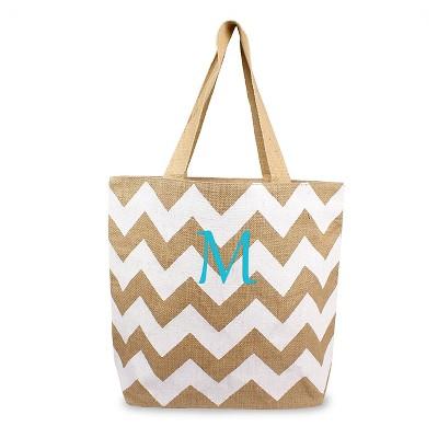Women's Monogram White Chevron Natural Jute Tote Bags - M
