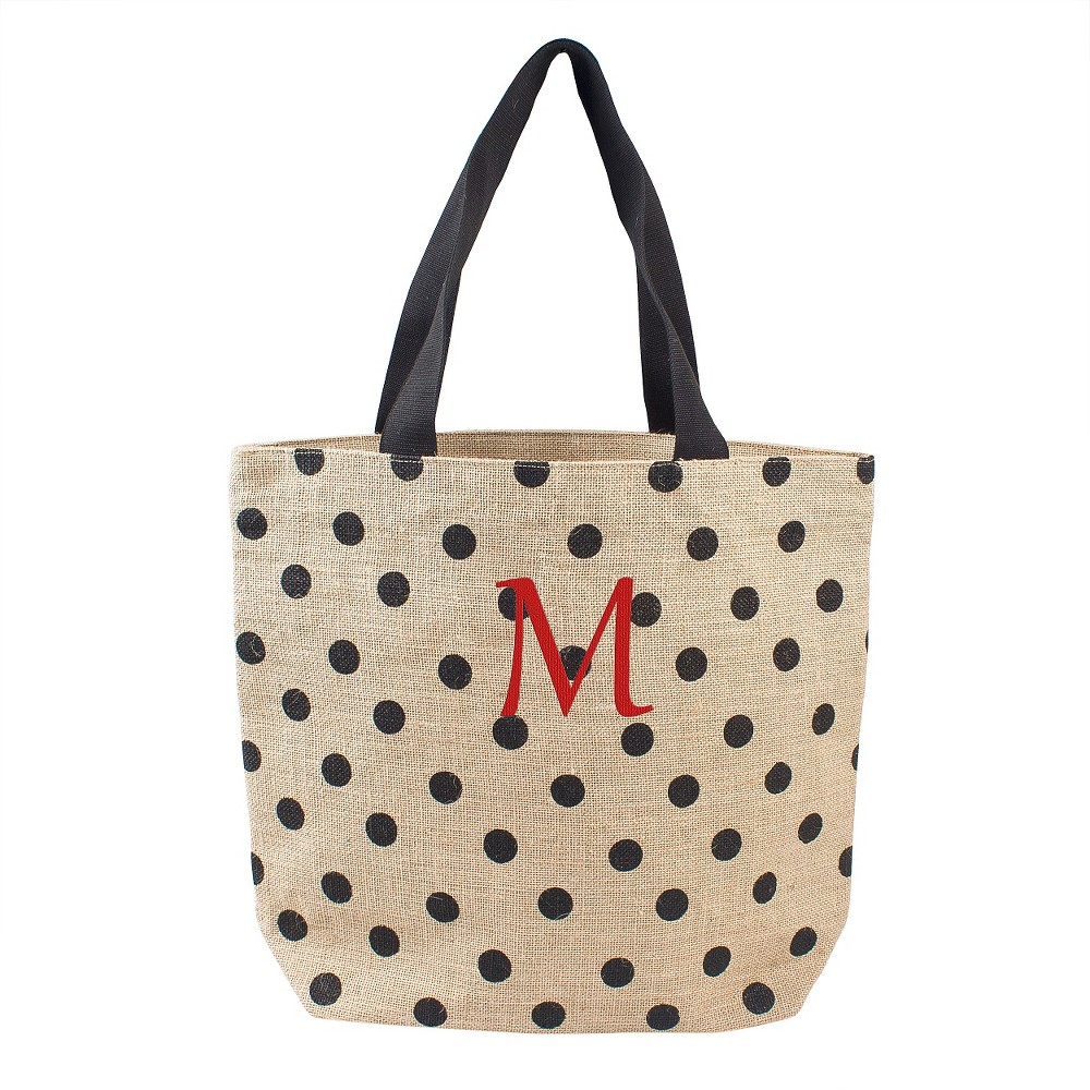 Womens Monogram Black Polka Dot Natural Jute Tote Bags - M, Size: Medium, Black - M