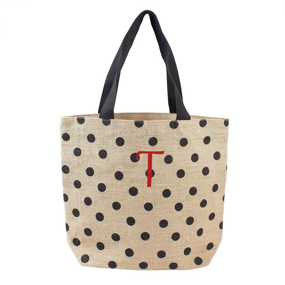 Womens Monogram Black Polka Dot Natural Jute Tote Bags - T, Size: Large, Black - T