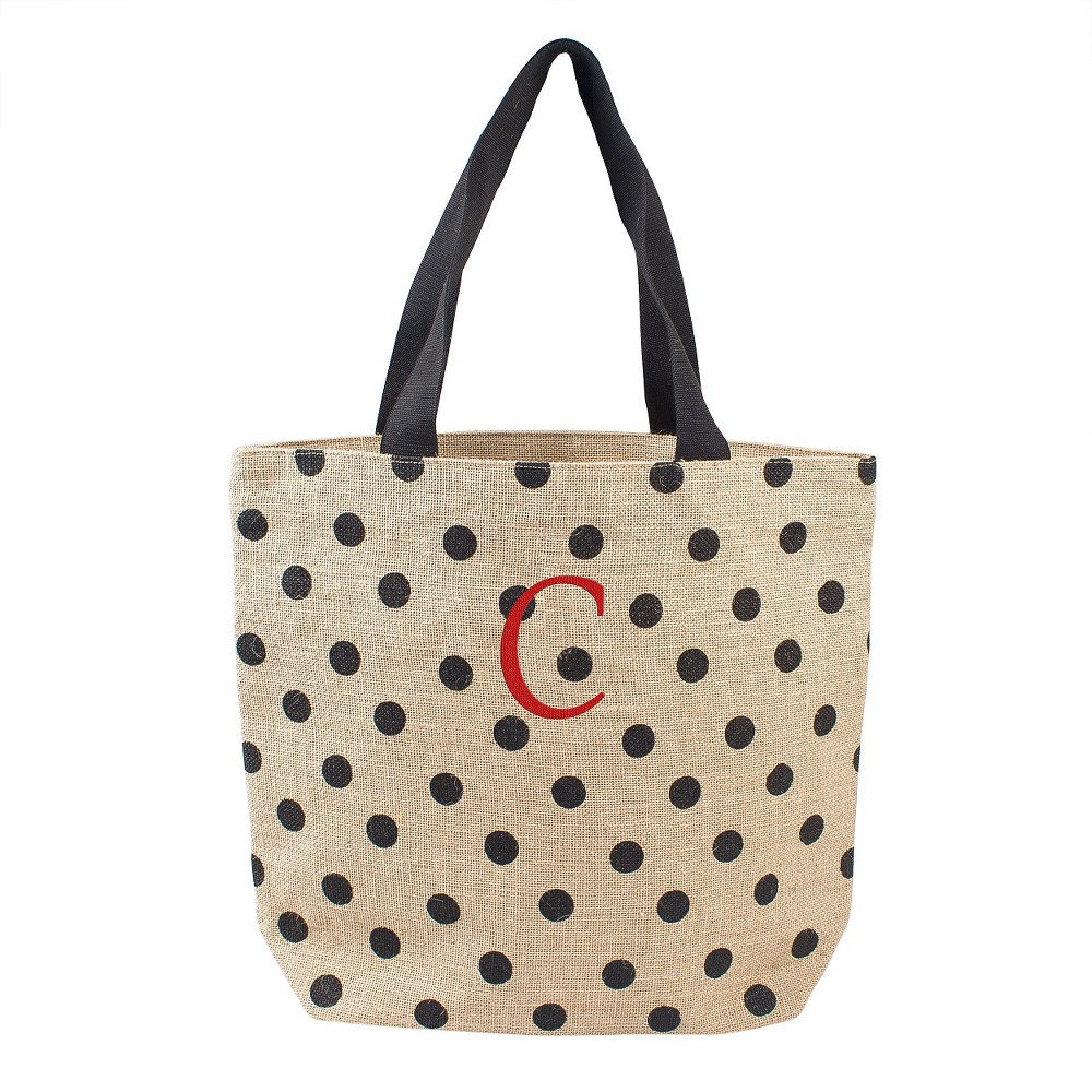 Womens Monogram Black Polka Dot Natural Jute Tote Bags - C, Size: Large, Black - C