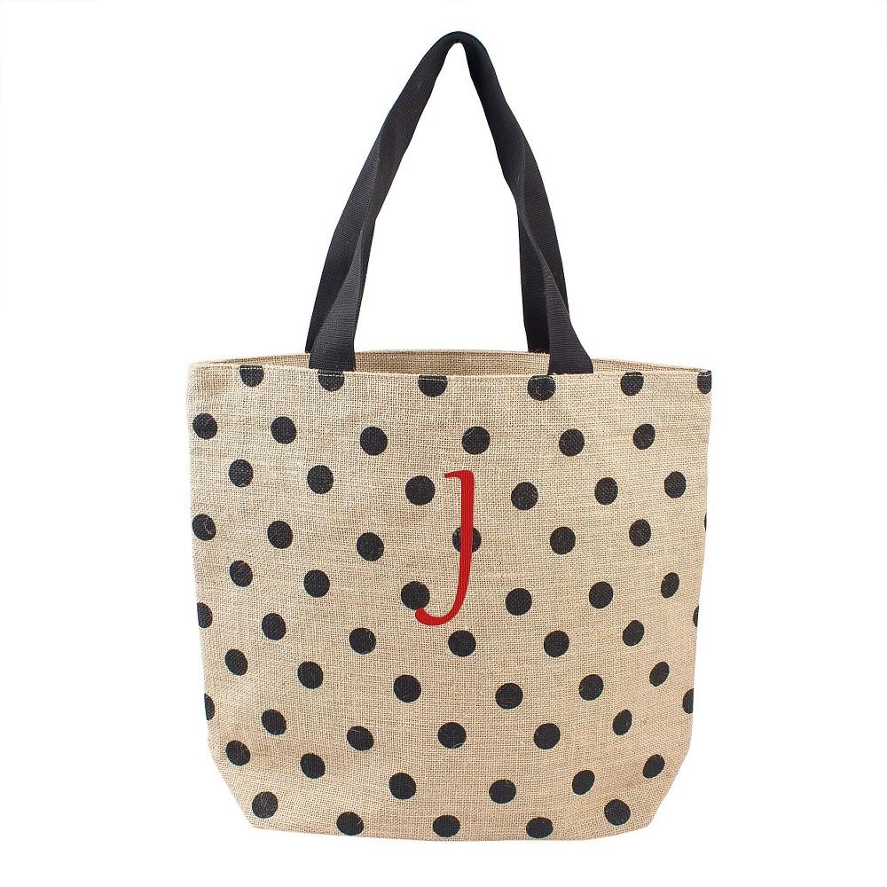 Womens Monogram Black Polka Dot Natural Jute Tote Bags - J, Size: Large, Black- J