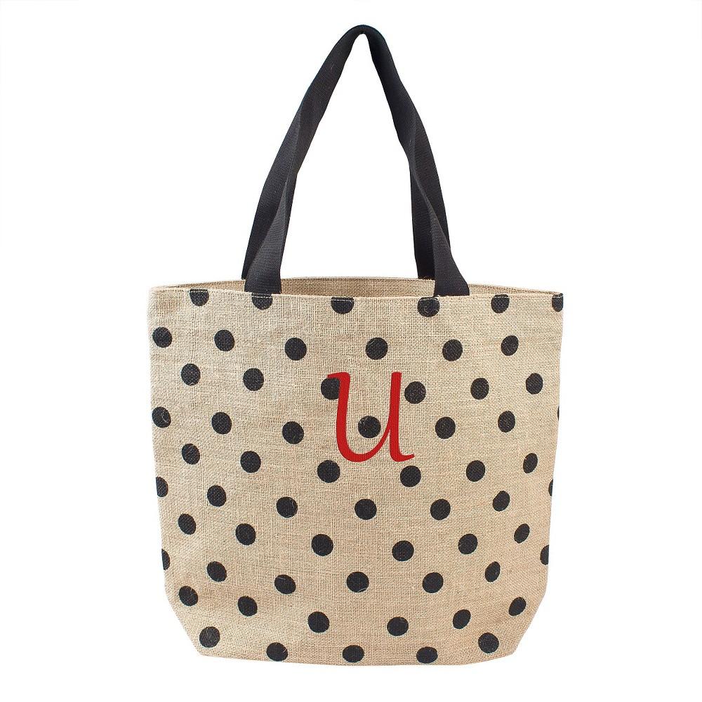 Womens Monogram Black Polka Dot Natural Jute Tote Bags - U, Size: Large, Black - U