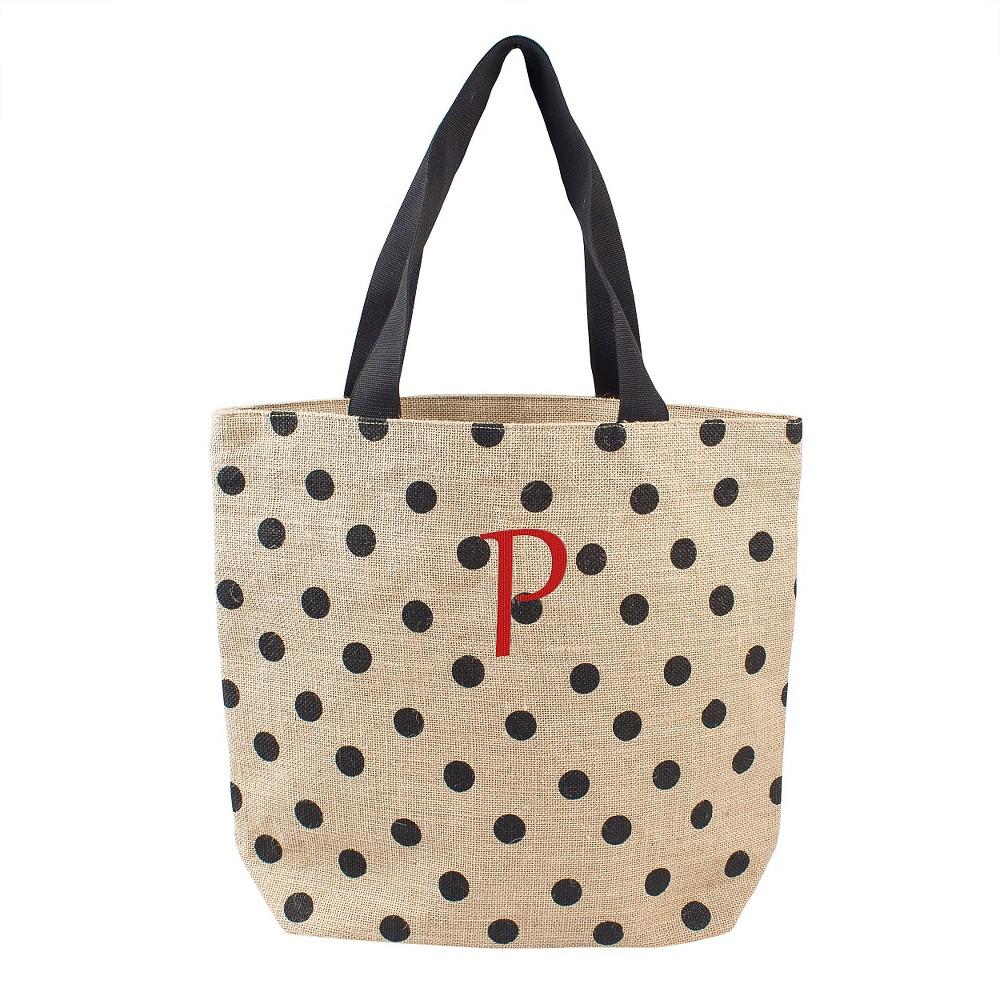 Womens Monogram Black Polka Dot Natural Jute Tote Bags - P, Size: Large, Black - P