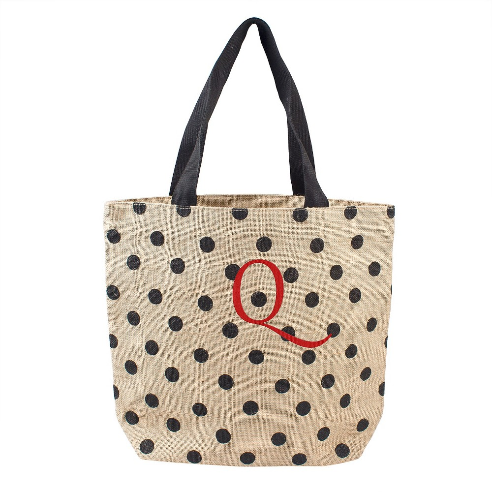 Womens Monogram Black Polka Dot Natural Jute Tote Bags - Q, Size: Large, Black - Q