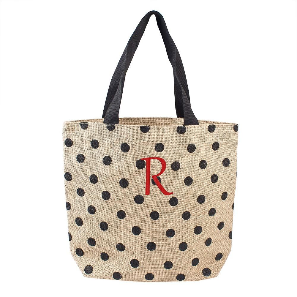 Womens Monogram Black Polka Dot Natural Jute Tote Bags - R, Size: Large, Black- R