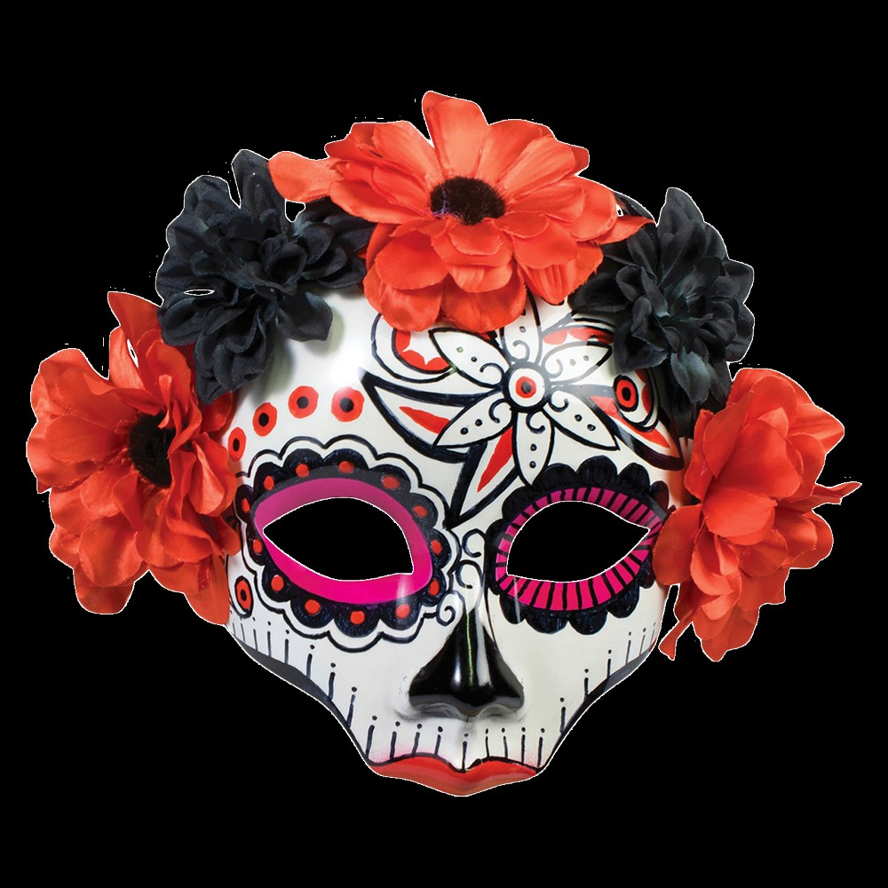 Womens Day Of Dead Skull Mask, Multi-Colored