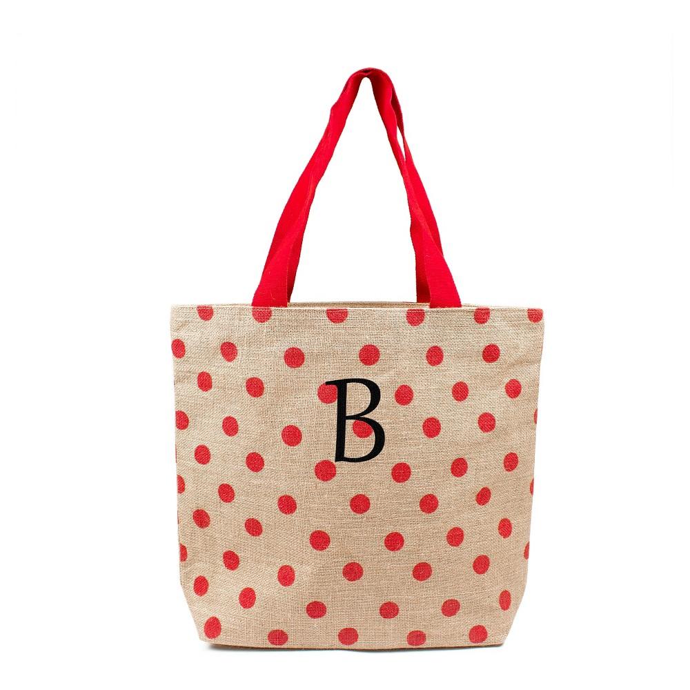Womens Monogram Red Polka Dot Natural Jute Tote Bags - B, Size: Large, Red - B