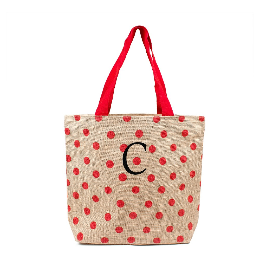 Womens Monogram Red Polka Dot Natural Jute Tote Bags - C, Size: Large, Red - C