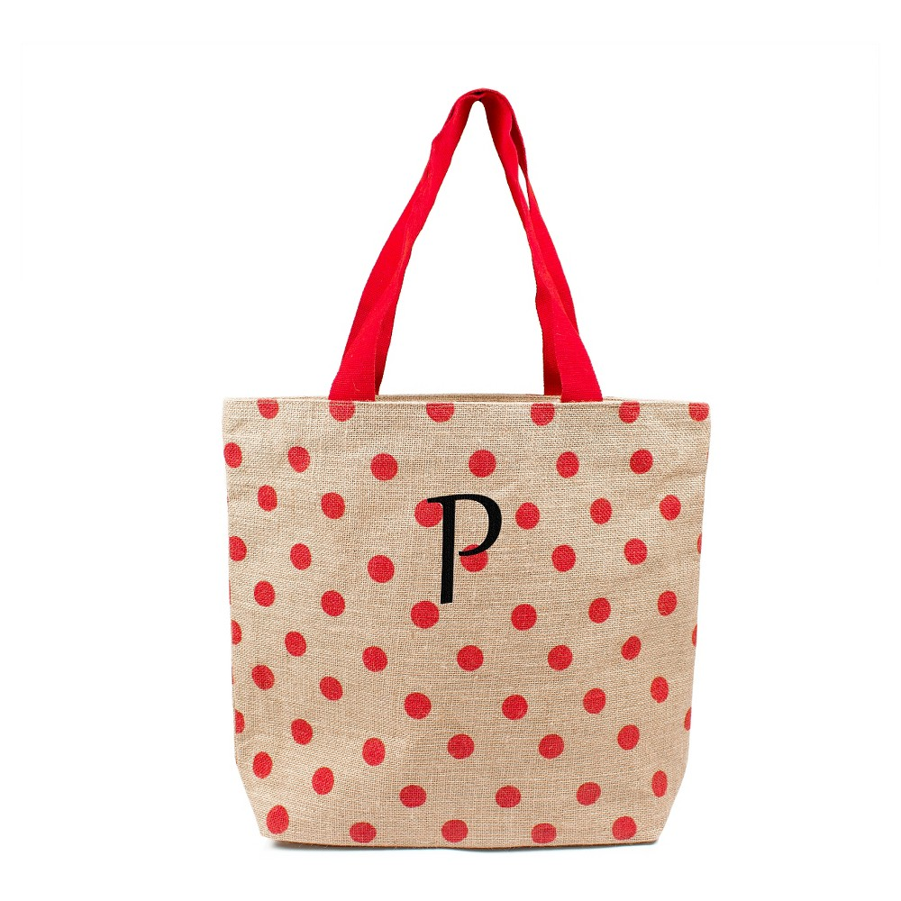Womens Monogram Red Polka Dot Natural Jute Tote Bags - P, Size: Large, Red - P