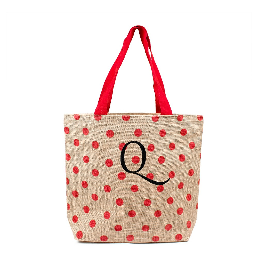 Womens Monogram Red Polka Dot Natural Jute Tote Bags - Q, Size: Large, Red - Q