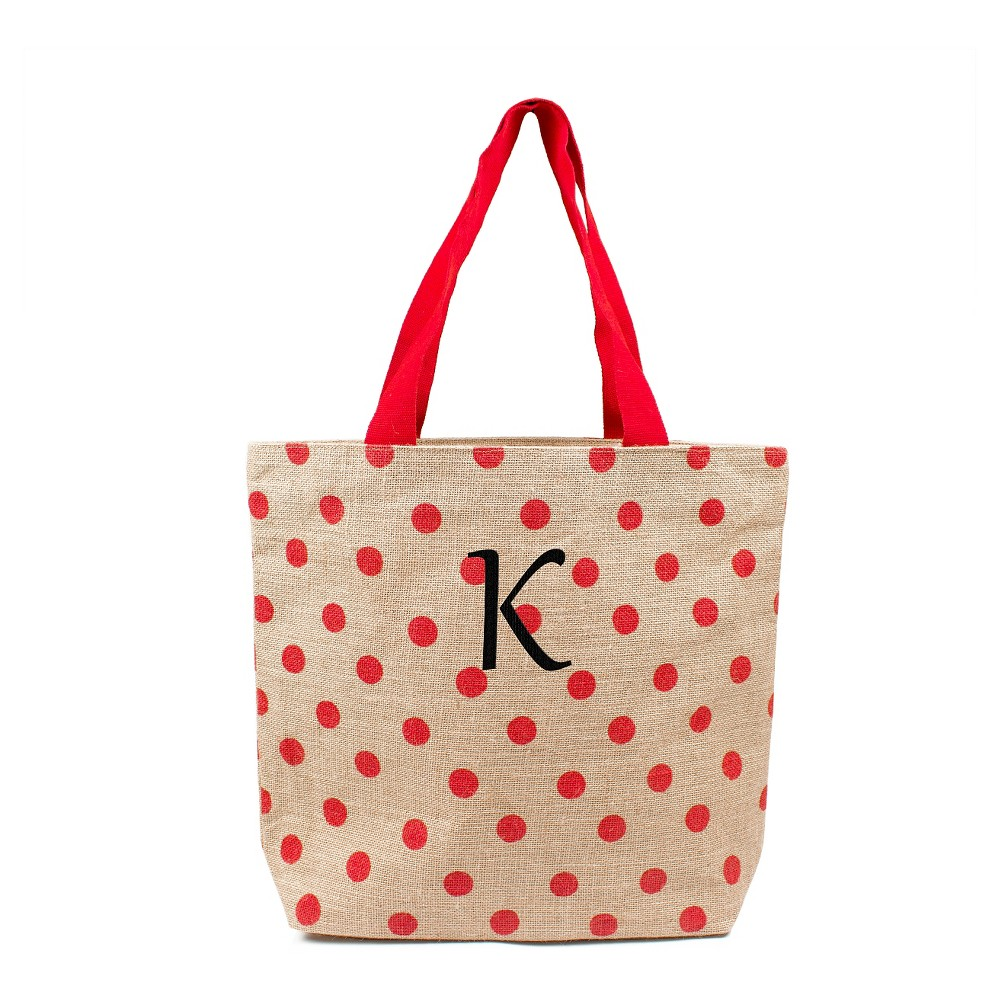 Womens Monogram Red Polka Dot Natural Jute Tote Bags - K, Size: Large, Red - K