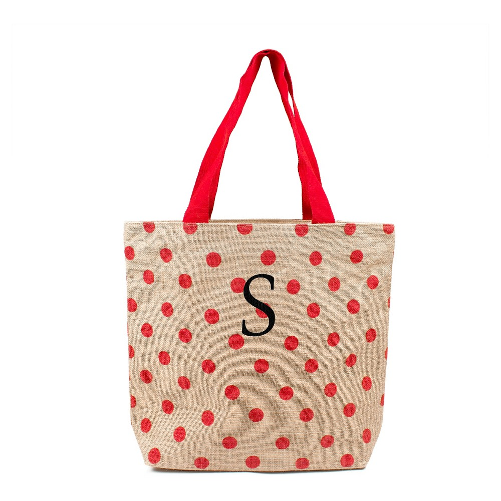 Womens Monogram Red Polka Dot Natural Jute Tote Bags - S, Size: Small, Red - S