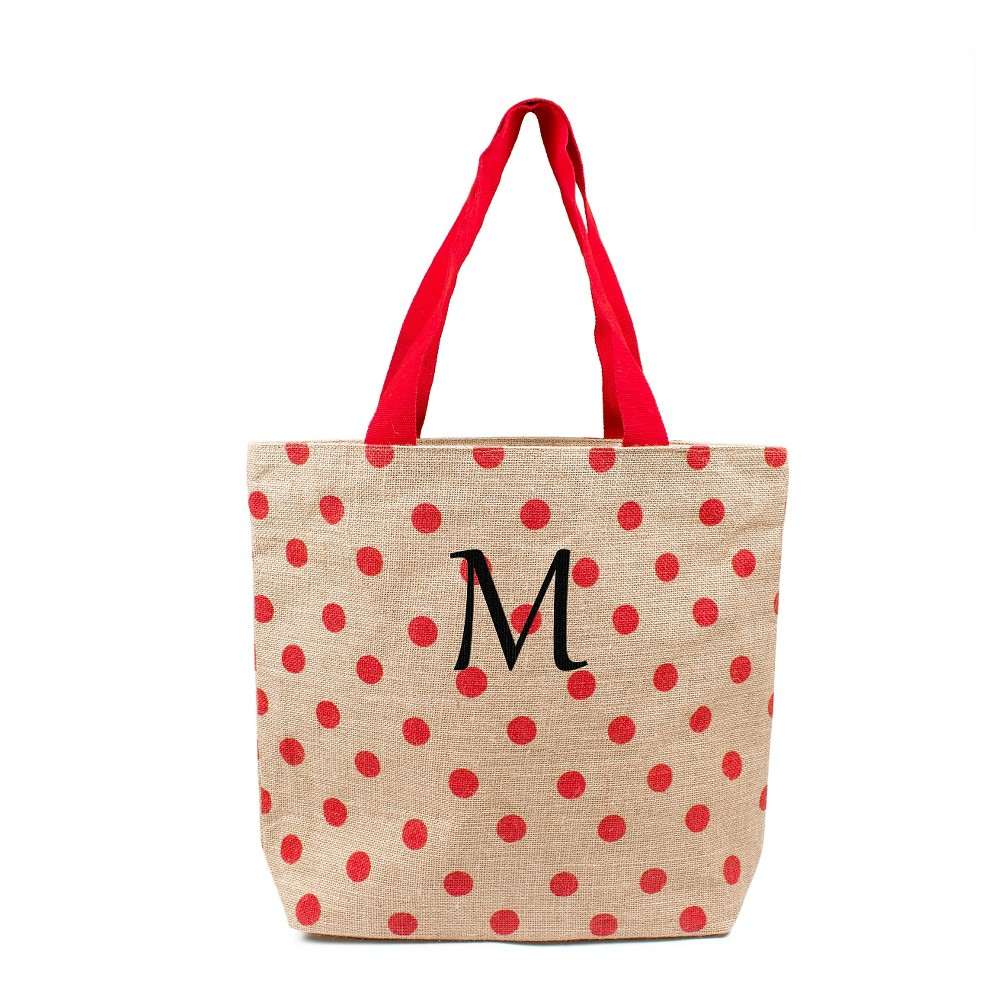 Womens Monogram Red Polka Dot Natural Jute Tote Bags - M, Size: Medium, Red - M