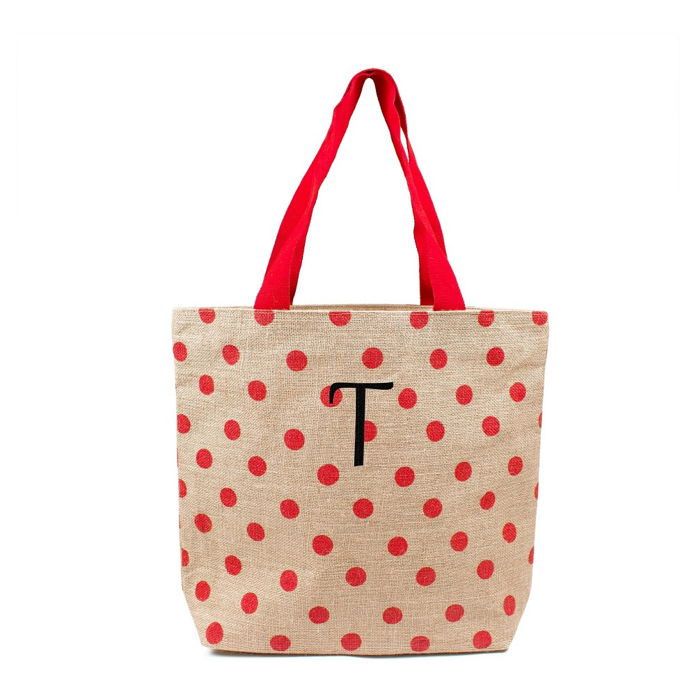 Womens Monogram Red Polka Dot Natural Jute Tote Bags - T, Size: Large, Red - T