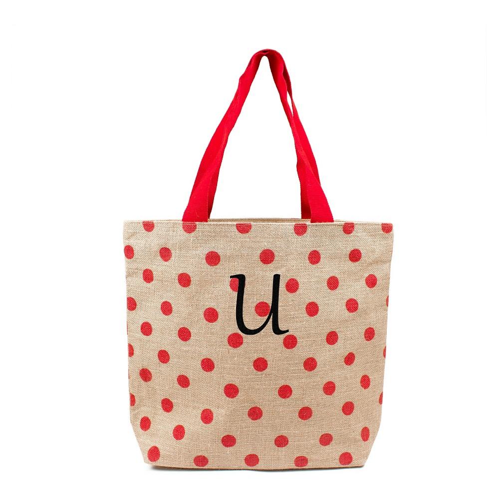 Womens Monogram Red Polka Dot Natural Jute Tote Bags - U, Size: Large, Red - U