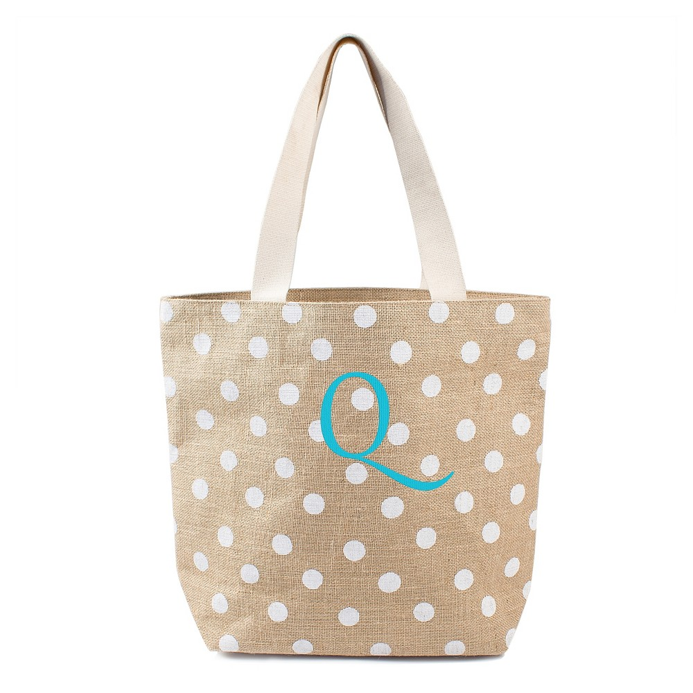 Womens Monogram White Polka Dot Natural Jute Tote Bags - Q, Size: Large, White - Q