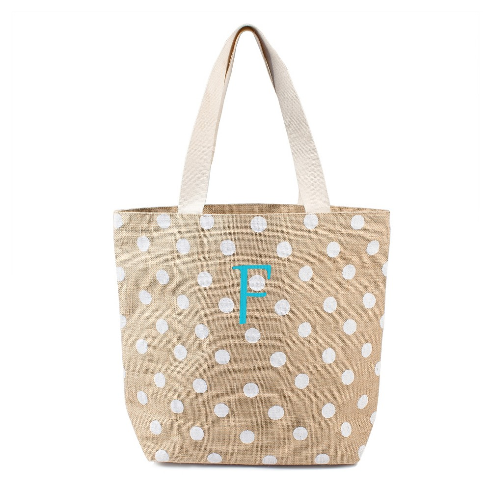 Womens Monogram White Polka Dot Natural Jute Tote Bags - F, Size: Large, White - F