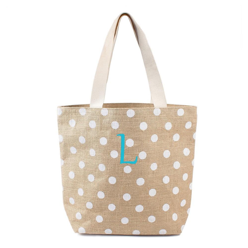 Womens Monogram White Polka Dot Natural Jute Tote Bags - L, Size: Large, White - L