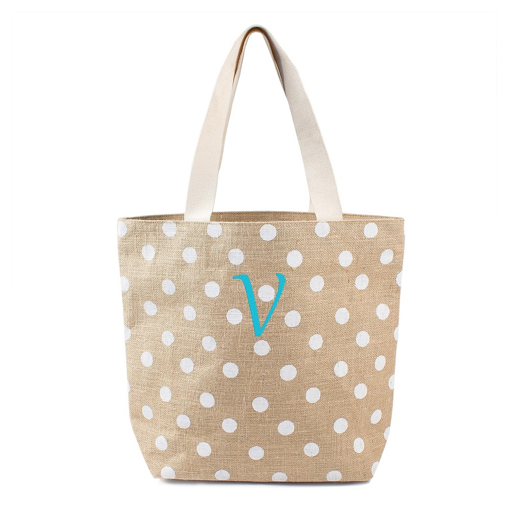 Womens Monogram White Polka Dot Natural Jute Tote Bags - V, Size: Large, White - V