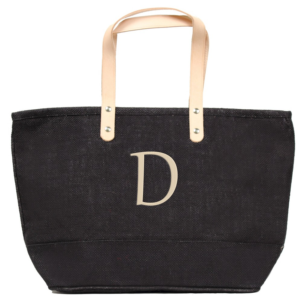 Womens Monogram Black Nantucket Tote - D, Size: Large, Black - D