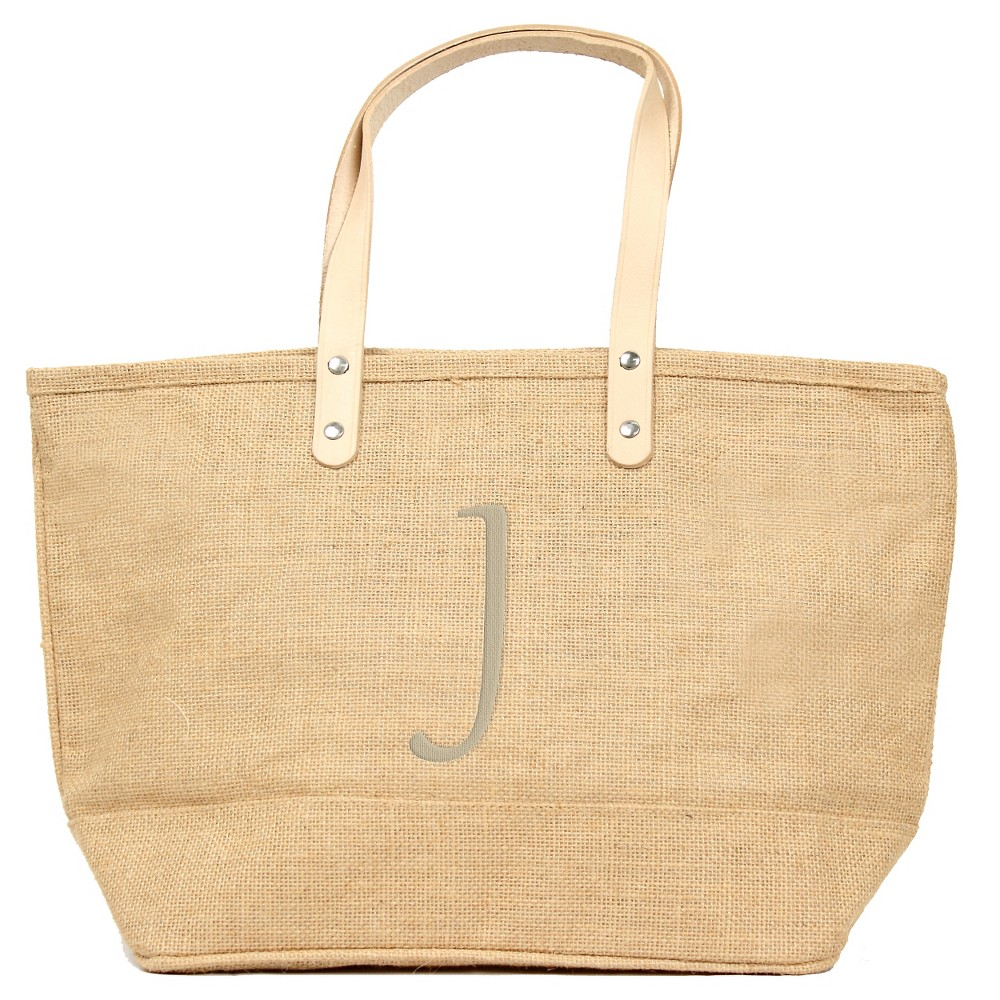 Women's Monogram Natural Nantucket Tote - J, Size: Large, Tan - J