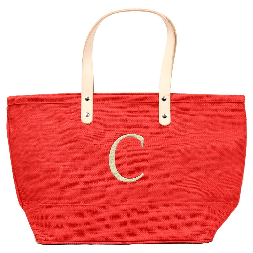 Women's Monogram Red Nantucket Tote - C, Size: Large, Red - C