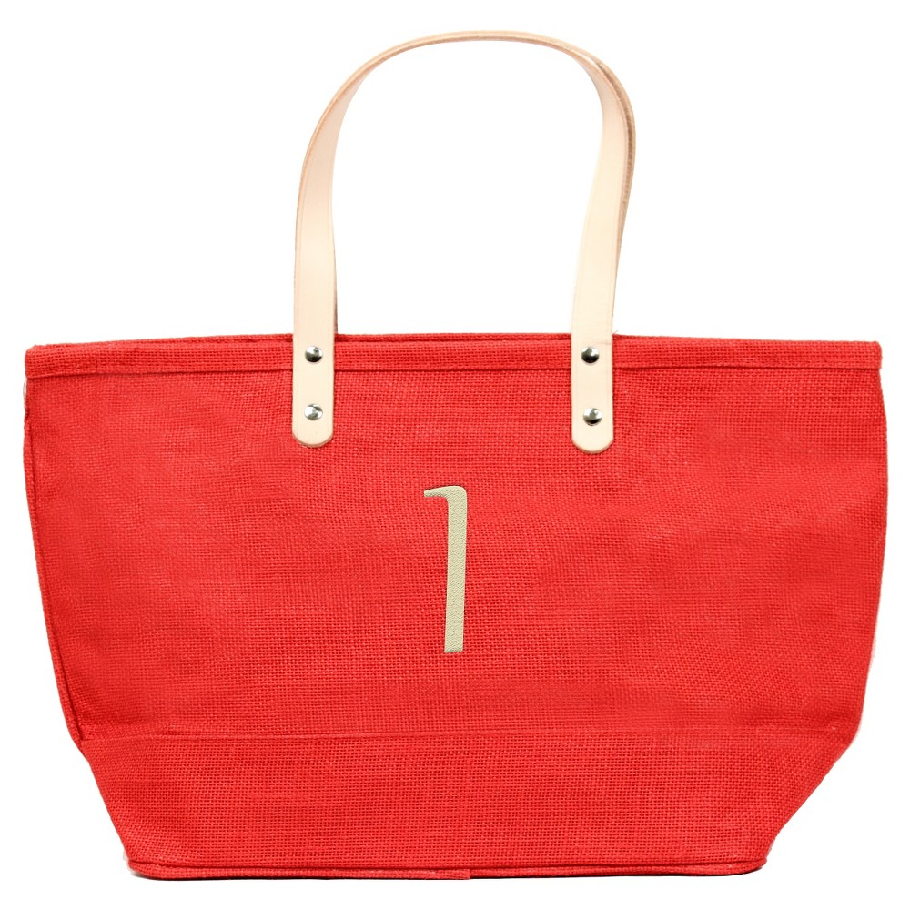Womens Monogram Red Nantucket Tote - I, Size: Large, Red - I