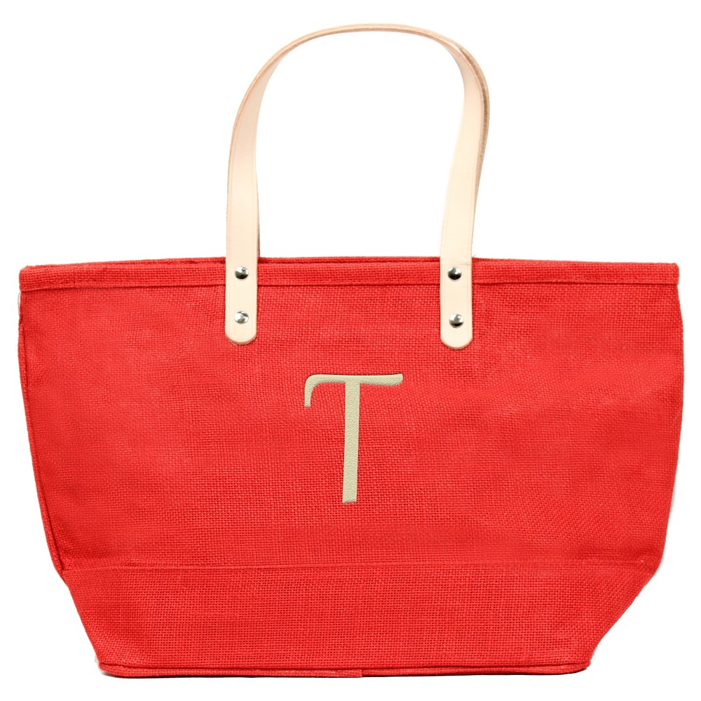 Womens Monogram Red Nantucket Tote - T, Size: Large, Red - T