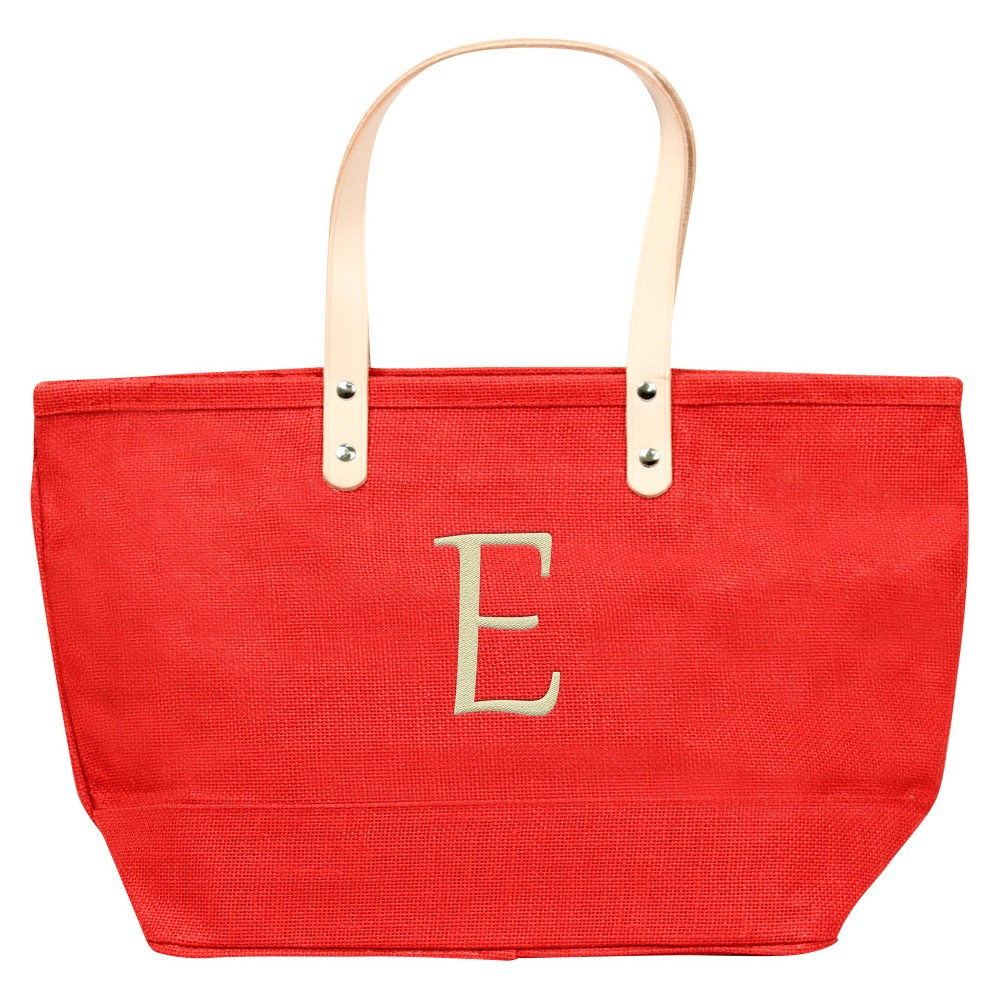 Womens Monogram Red Nantucket Tote - E, Size: Large, Red - E