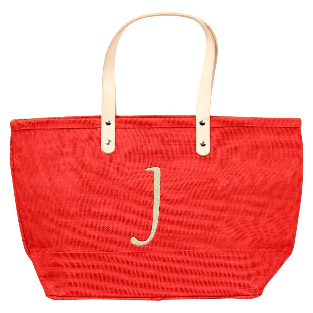 Womens Monogram Red Nantucket Tote - J, Size: Large, Red - J
