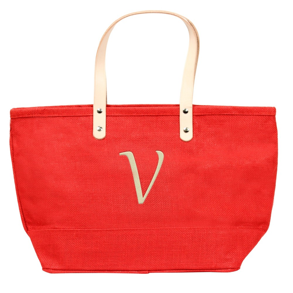 Womens Monogram Red Nantucket Tote - V, Size: Large, Red - V