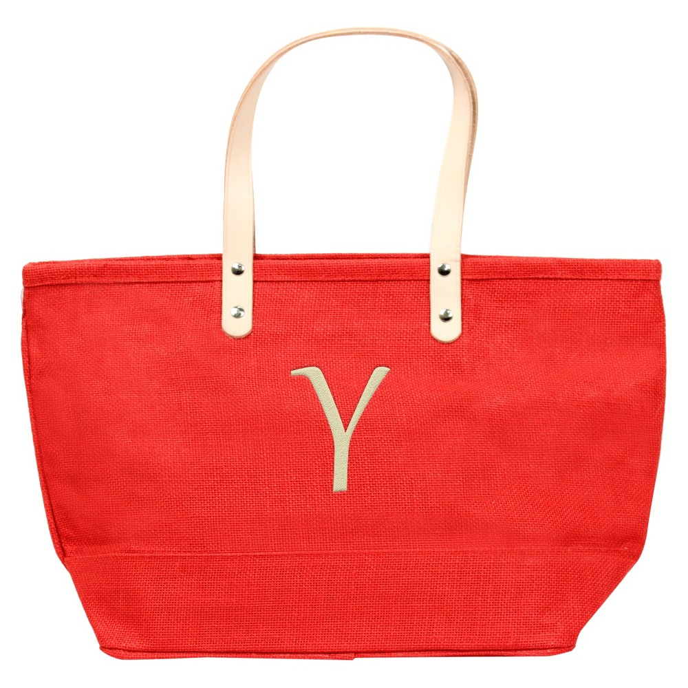 Womens Monogram Red Nantucket Tote - Y, Size: Large, Red - Y