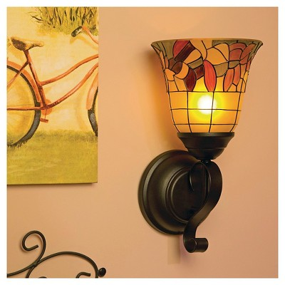 tuscany faux stained glass flameless oil rubbed sconce - Battery Operated Sconces