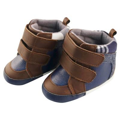 Baby Boys' Rising Star Plaid Menswear High Top Sneaker Crib Shoes Blue 6-9M