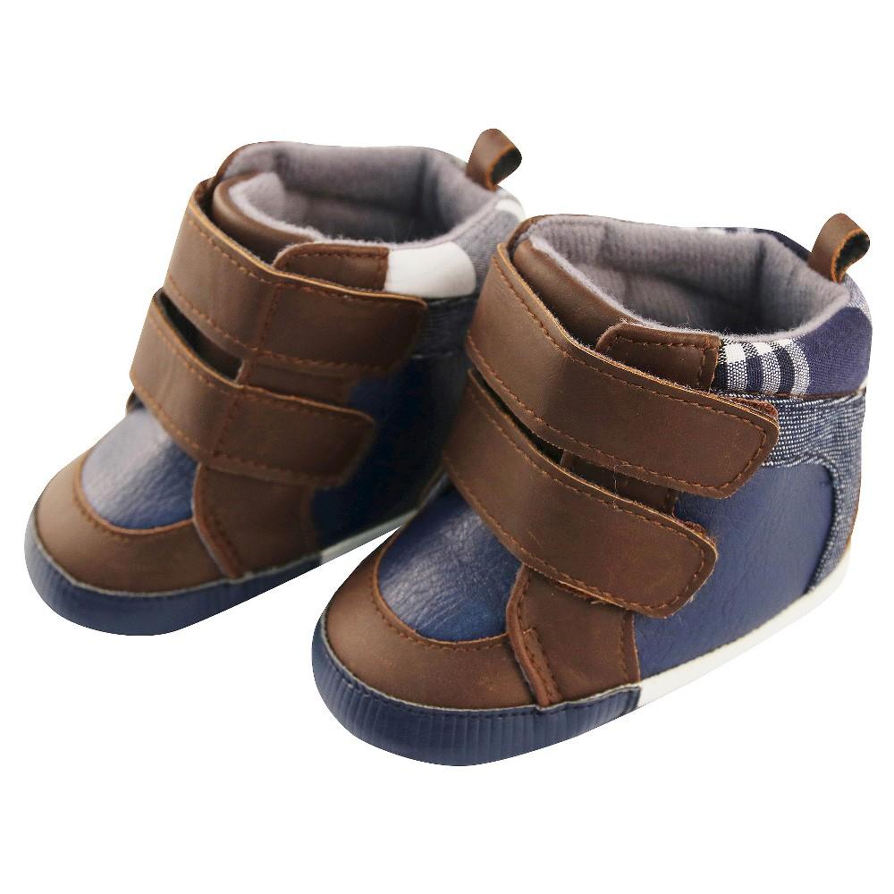 Baby Boys Rising Star Plaid Menswear High Top Sneaker Crib Shoes Blue 6-9M